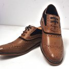 Ethan Tan and navy insert Leather Country Dressed Brogue Shoes
