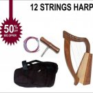 New Rosewood 12 Strings Harp Baby Harp Mini Harp With Free Bag and Tuning Key