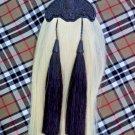 Highland Kilt Sporran White & Black Original Horse Hair Thistle Cantle Black