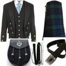 Scottish Men Black Prince Charlie Jacket & Black Vest tartan kilt Wedding OutFit