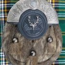 New Full Dress Kilt Sporran Formal Seal Skin Celtic Cantle Antique Stag Head