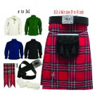 Men's Traditional Scottish Kilt Various Tartan Outfit Belt Sporran 8 Pcs Set