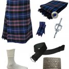 Scottish Pride Of Scotland Highland Tartan Kilt 8 PCs Set With Accessories