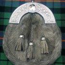 Men's Scottish Kilt Sporran Grey Bovine Celtic Cantle/Kilt Sporran Grey Cowhide