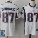 Mens New England Patriots 87# Rob Gronkowski White 2019 Super Bowl LIIl Jersey