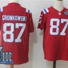 Mens New England Patriots 87# Rob Gronkowski Red 2019 Super Bowl LIIl Jersey