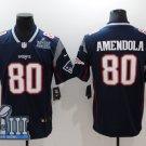 Mens New England Patriots 80# Danny Amendola Black 2019 Super Bowl LIIl Jersey