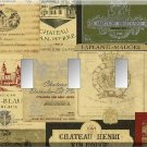 Vintage Wine Label Collage Triple Toggle Switch Plate