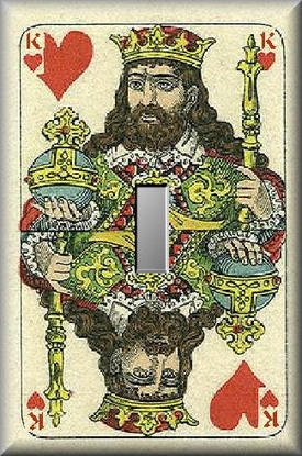 Ornate King of Hearts Vintage Playing Face Card Single Switch Plate