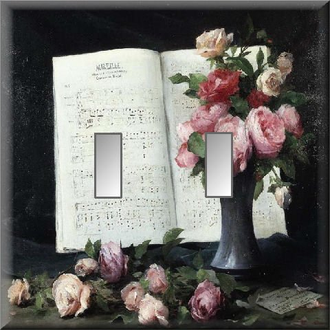 Pink Red Roses Vase Sheet Music Double Switch Plate