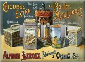 Assortment Ornate French Coffee Tea Tins Ad Triple Switch Plate