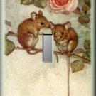 Mice Telling Secrets Under Pink Rose Single Switch Plate