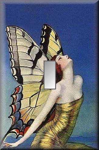 Beautiful Fairy Woman Butterfly Wings Single Switch Plate