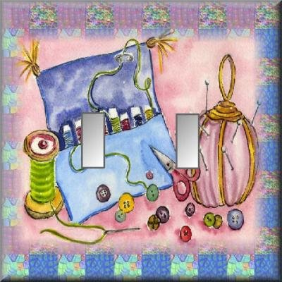 Embroidery Sewing Notions Illustration Jewel Tones Double Switch Plate