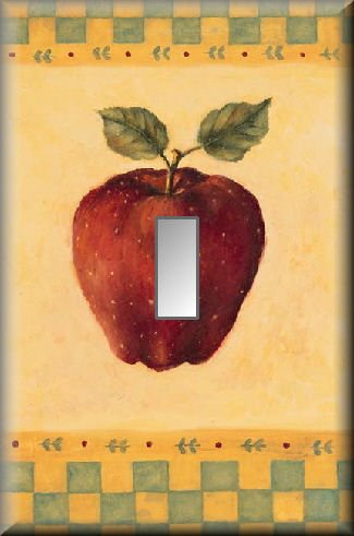Country Red Apple Green Yellow Checks Single Switch Plate
