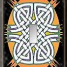 Celtic Knots Melon Oval Black Background Single Switch Plate