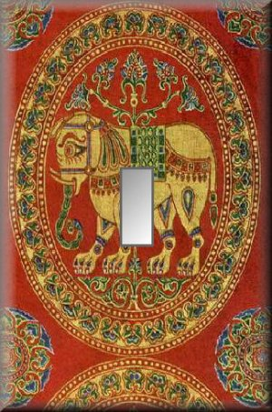 East Indian Elephant Tapestry Single Switch Plate