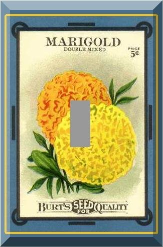 Vintage Marigold Flower Seed Packet Single Switch Plate