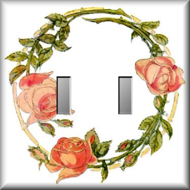 Wreath of Pink Roses Double Switch Plate
