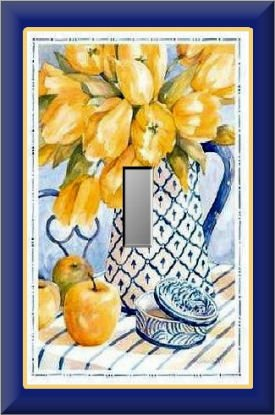 Yellow Tulips in Blue White Pitcher Single Switch Plate