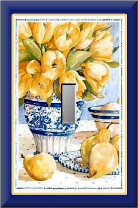 Yellow Tulips in Blue White Vase Single Switch Plate