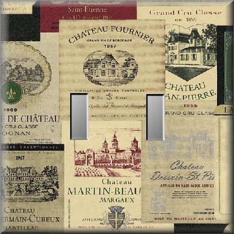 Vintage Wine Label Collage Cool Tones Double Switch Plate