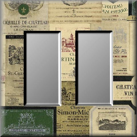 Vintage Wine Label Collage Cool Tones Double Rocker Switch Plate