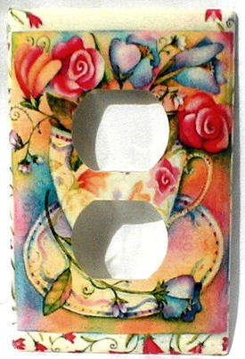 Roses in Pretty Floral Teacup Outlet Cover