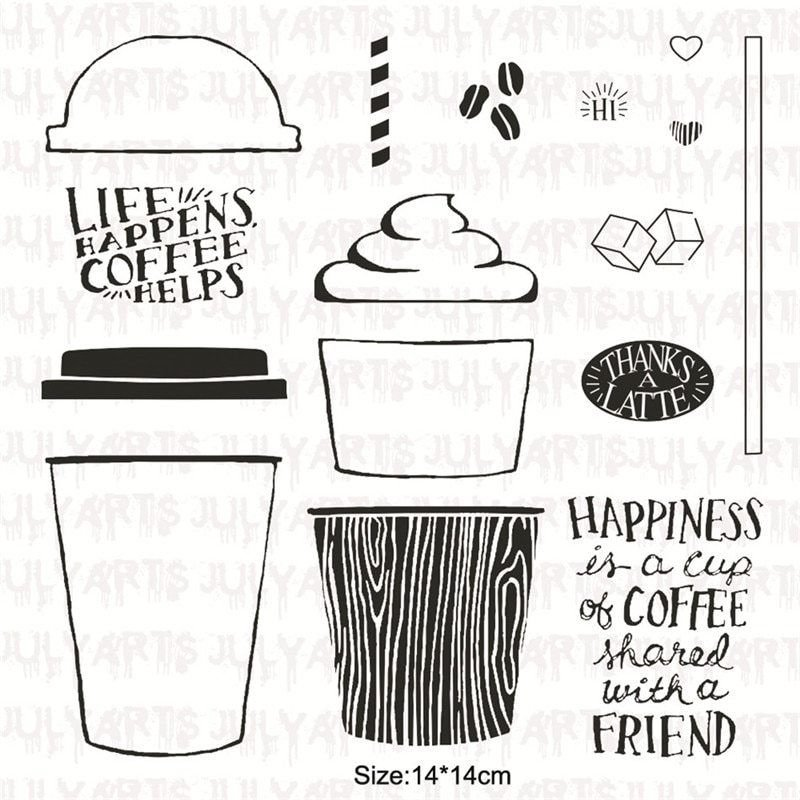 New Arrival Coffee Cup Clear Rubber Stamps Metal Cutting Dies For Scrapbooking