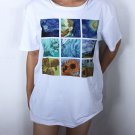 Casual Women Fashion T-shirts Van Gogh Painting Patterned  Plus Size Top Tees