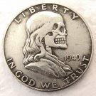 Hobo Creative 1949 Franklin Silver Half Dollar Skeleton Skull Collectible Coin