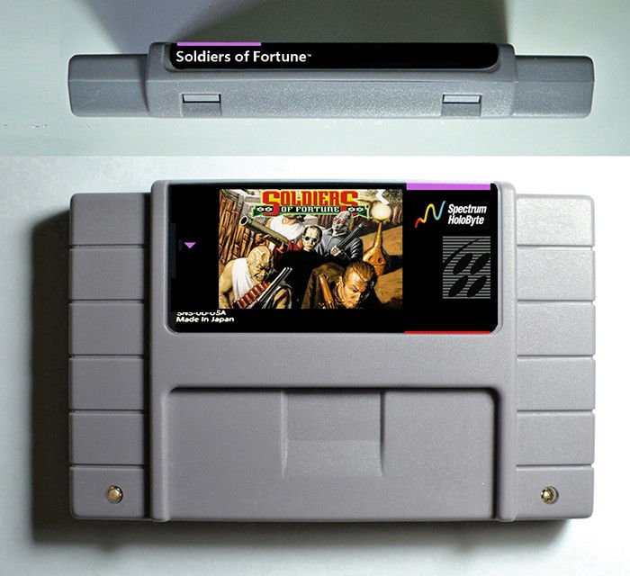 Soldiers of Fortune Super Nintendo SNES NTSC Game Card 16 Bit 46 Pin US Version