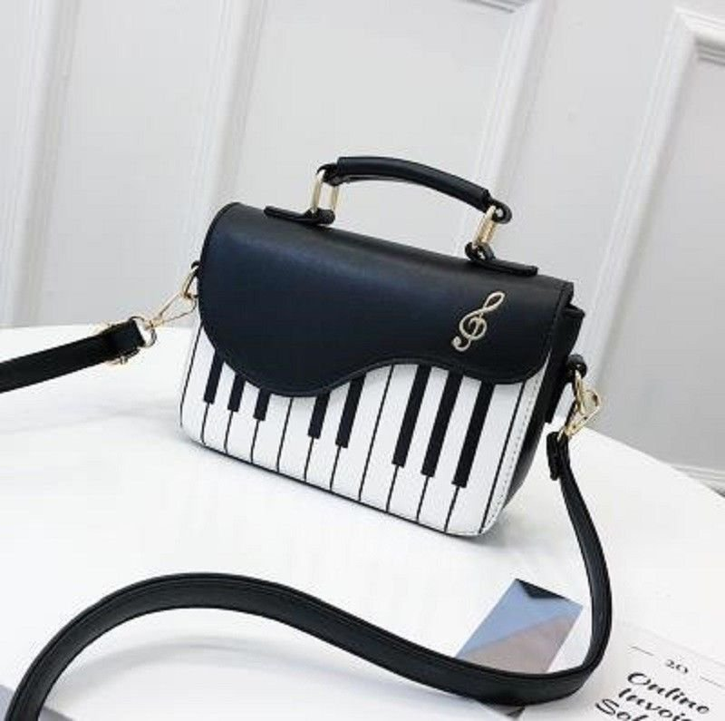 Leather Flap Handbag Piano Design Top Handle Women Shoulder Crossbody Bags