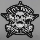 "11.3"" Huge Skull  LIVE FREE- RIDE FREE Embroidery Patch Motorcycle Biker Jacket"
