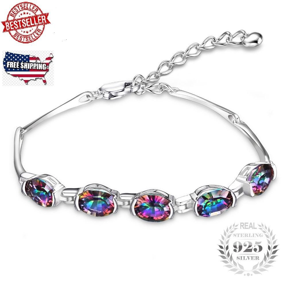 6ct Concave Oval Mystical Rainbow Topaz Bracelet Solid 925 Sterling Silver Charm