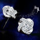 JEXXI 925 Sterling Silver Stud Earrings Jewelry Gifts For Wedding Zircon Plated