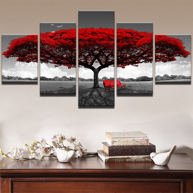 Modular Canvas Print 5 Piece Red Tree Art Scenery Landscape Home Decor Wall Arts