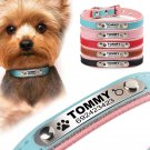 Genuine Personalized Engraved Soft Leather Padded Dog Puppy Cat Collar Anti-Lost
