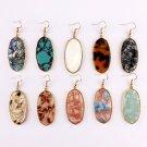 2019 New Natural Stone Oval Large Earrings Designer Inspired Abalone Shell Women