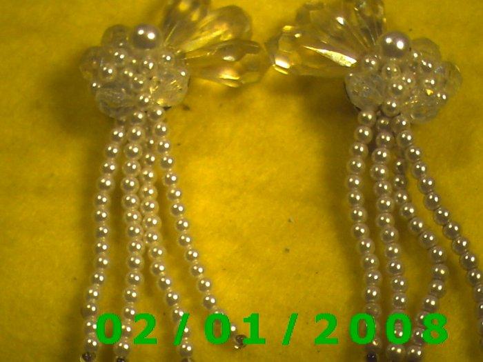 Crystal n Pearls Clip On Earrings