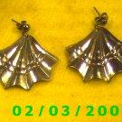 Silver Fan  Pierced Earrings