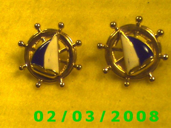 Ship's Wheel  Pierced Earrings