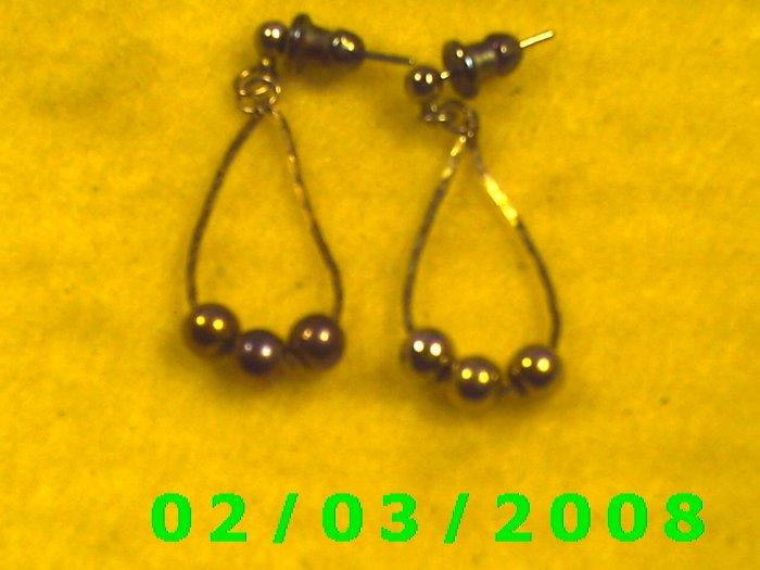 Gold Bead  Pierced Earrings
