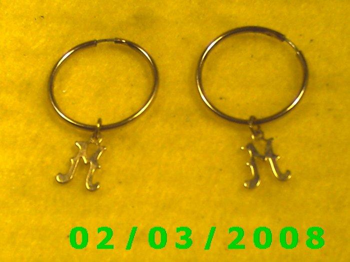 Gold Hoop w/Letter M  Pierced Earrings