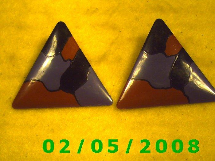 Tri Color Triangles Pierced Earrings