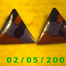 Tri Color Triangles Pierced Earrings