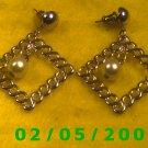Gold Squares n Pearl Pierced Earrings