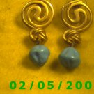 Gold w/Knots n Blue Beads Pierced Earrings