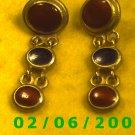 Gold Dangle w/Red n Black Buttons Pierced Earrings