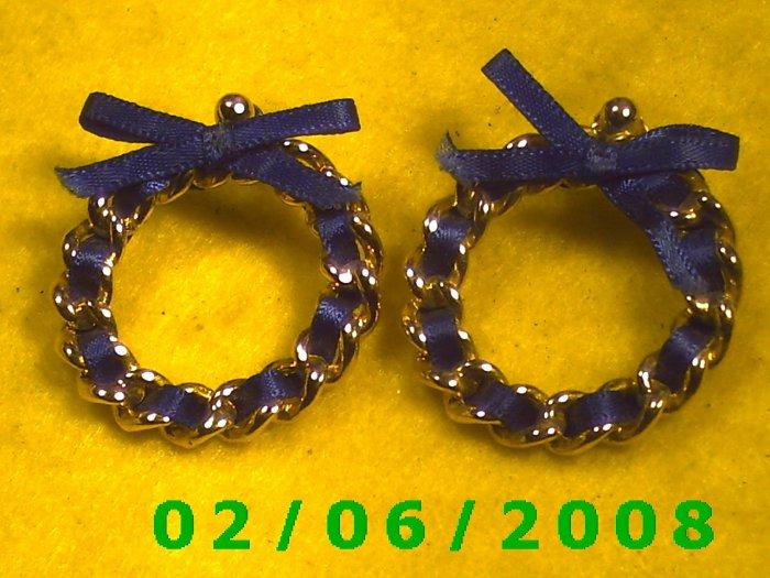 Gold w/Blue Ribbon Pierced Earrings